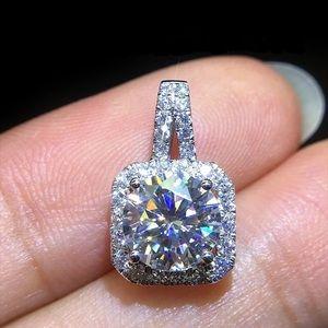 """Pendant Necklace 16"""" chain new Cz Diamond Silver"""